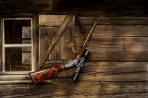 Jagdhütte mit Blaser Waffe